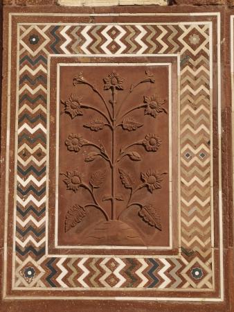 Details of sandstone carving at Taj Mahal, Agra, Uttar Pradesh, India photo