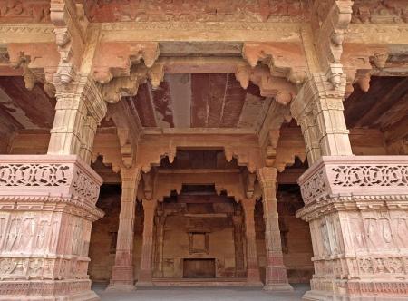 fatehpur: Nice carving sandstone in the room of Fatehpur Sikri, Agra, Uttar Pradesh, India Stock Photo