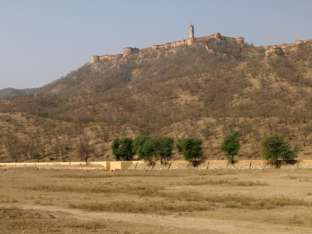 rajput: Jaigarh Fort in summer, looking from dried maota lake Stock Photo