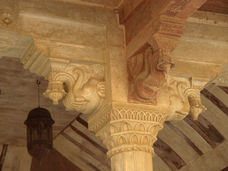 Elephant statue on the pillar in most rooms of Amber Fort, Jaipur, Rajasthan, India photo