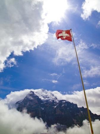wallis: A national flag of Switzerland and Wetterhorn mountain