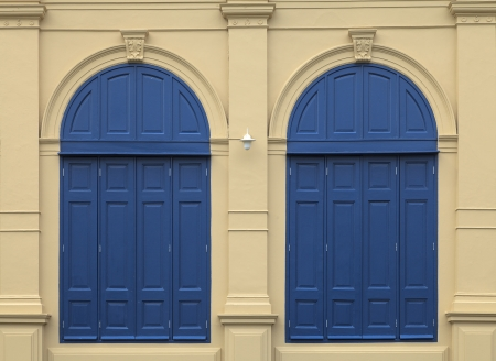 a pair of classic blue windows at Thailands Grand Palace, Bangkok, Thaialnd photo