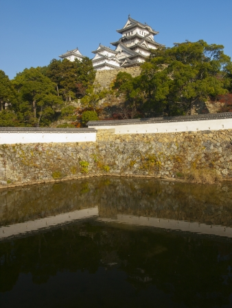 Himeji Castle Complex reflects on the three country moat Stock Photo - 14392706