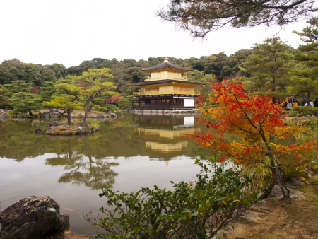 Kinkakuji Temple or The Golden Pavilion temple in autumn, Kyoto, Japan