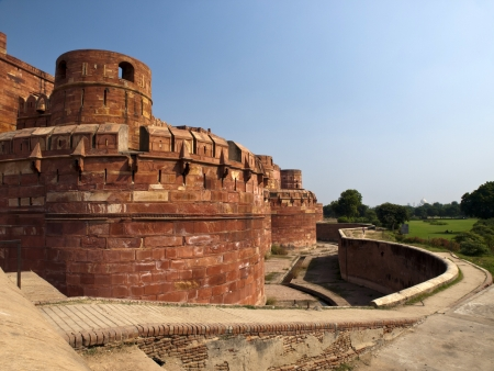 Walls of the famous Agra Fort in Uttar Pradesh, India  photo