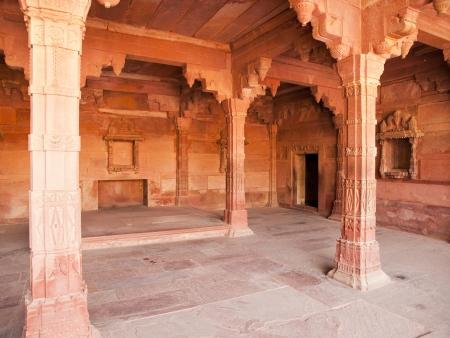 uttar pradesh: Beautiful carving sandstone in a room of Fatehpur Sikri, Agra, Uttar Pradesh, India
