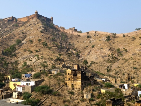 Jaigarh Fort and the local houses in Jaipur, Rajasthan, India photo
