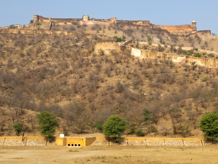 Jaigarh Fort in Jaipur and the dried up of Maota Lake in winter, Rajasthan, India photo