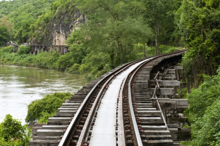 rail cross: The Death Railway or The Thailand-Burma railway on World War II Stock Photo