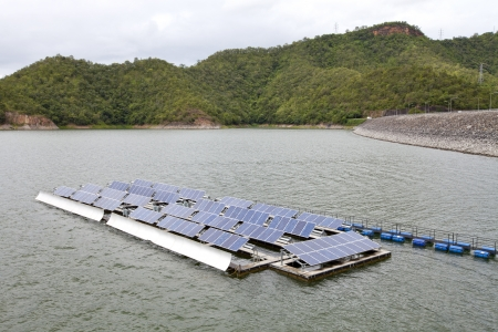 Floting Solar Energy Panels on a lake photo