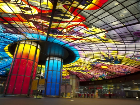 the largest: KAOHSIUNG CITY ? CIRCA APRIL 2010: The Dome of Light at Formosa Boulevard Station, the largest glass work in the world at the central station of Kaohsiung subway system in Kaohsiung City, Taiwan circa April 2010. Editorial