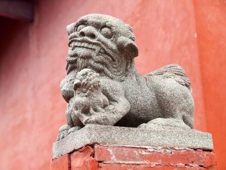 Stone Lion in the Tainan Confucius Temple, Tainan, Taiwan