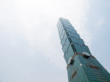 tallest: TAIPEI, TAIWAN - APRIL 29: The Taipei 101 building on April 29, 2010 in Taipei, Taiwan. The Taipei 101 ranked officially as the worlds tallest building from 2004 until 2010.