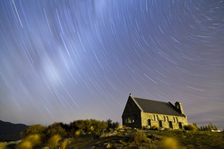 Startrail over The Church of the Good Shepherd, Lake Tekapo, New Zealand  photo