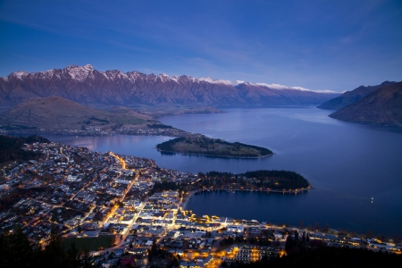 Aerial view of Queenstown downtown at dusk, South Island, New Zealand photo