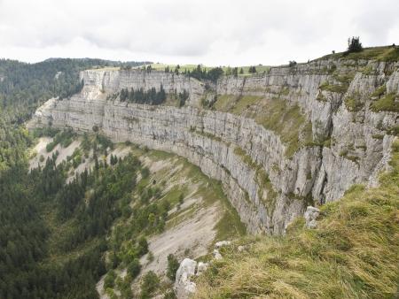 jura: A natural rocky cirque of Creux du Van in Neuchatel, Switzerland Stock Photo