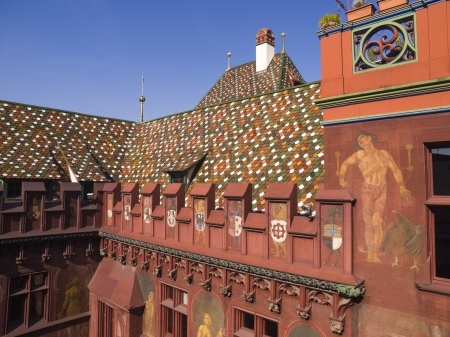 Details of the inner building of the city hall (Rathaus) of Basel, Switzerland photo