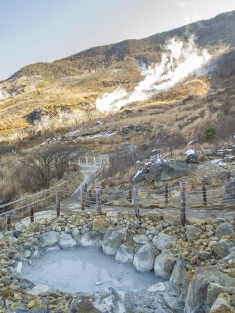 sulfur: Hot Spring content at Owakudani, sulfur quarry in Hakone, Japan