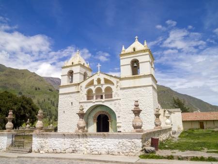 maca: Colonial church on the main plaza in Maca  Colca canyon area, Arequipa, Peru