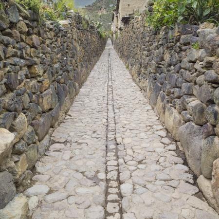 incan: Stone street in Ollantaytambo, Cuzco, Peru