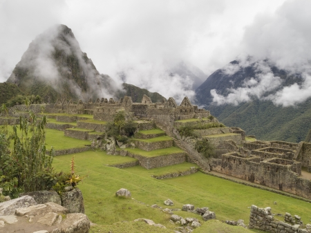 pre columbian: Machu Picchu - Mysterious city and archaeological site of pre-Columbian civilization of the Incas on the Andes cordillera mountains archeology near Cusco, Peru  Stock Photo