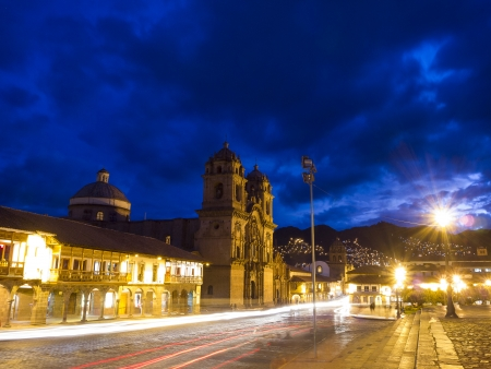 iglesia de la compania: Night at the Iglesia de la Compania de Jesus  Church of the Society of Jesus , Cusco, Peru