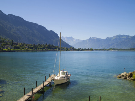 View of Lake Geneva from Chillon castle  Montreux  Switzerland  photo