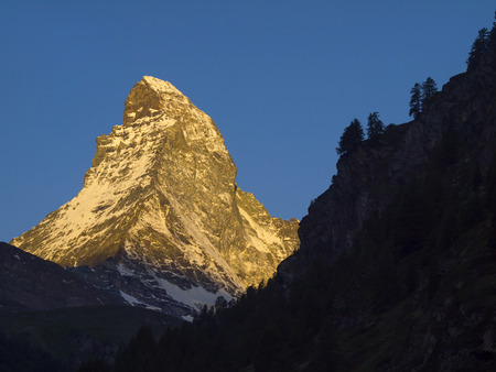 Matterhorn mountain in the morning, seen from Zermatt, Canton of Valais, Switzerland. Its summit is 4,478 metres  14,692 ft  high, making it one of the highest peaks in the Alps photo