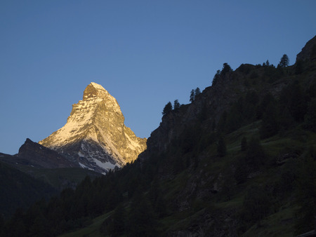 Matterhorn mountain in the morning, seen from Zermatt, Canton of Valais, Switzerland  Its summit is 4,478 metres  14,692 ft  high, making it one of the highest peaks in the Alps photo
