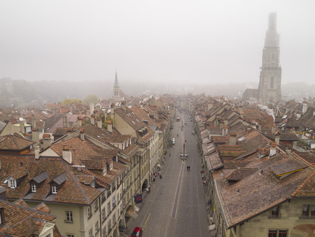 canton berne: BERN, SWITZERLAND - OCT 23  Aerial view of Bern in morning mist on October 23, 2011 in Bern, Switzerland  In 1983 the historic old town in the centre of Bern became a UNESCO World Heritage Site  Editorial