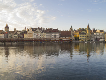 Cityscape of Lucerne, Switzerland  Lake Luzern and the historic city center is a Swiss heritage of national significance  photo