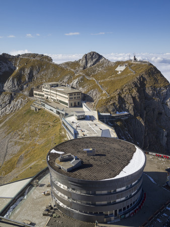 Pilatus Kulm station near the summit of Mount Pilatus on the border between the canton of Obwalden and Nidwalden in Central Switzerland
