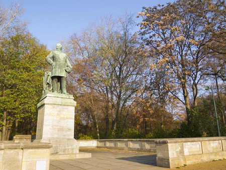 graf: BERLIN, GERMANY -NOV 12: Statue of Albrecht Graf von Roon on November 12, 2011 in Tiergarten, Berlin, Germany. He was appointed an instructor in the military cadet school at Berlin in 1826.