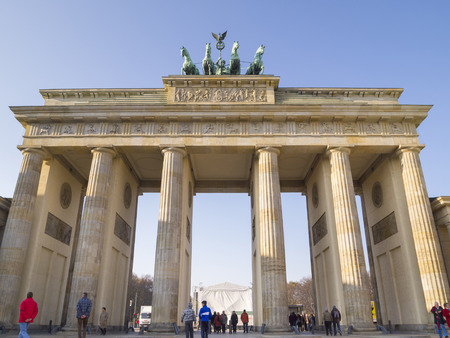 neo classical: BERLIN, GERMANY - NOV 12: The Brandenburg Gate (Brandenburger Tor) on Nov 12, 2011 in Berlin, Germany. This is a former city gate, rebuilt in the late 18th century as a neoclassical triumphal arch. Editorial