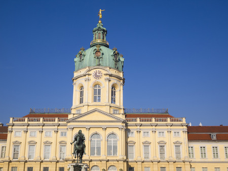 elector: Charlottenburg Palace and the statue of Friedrich Wilhelm I elector of Brandenburg, Berlin, Germany. This largest palace in Berlin was built at the end of the 17th century.