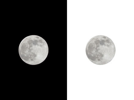 Full moon isolated on black and white background.