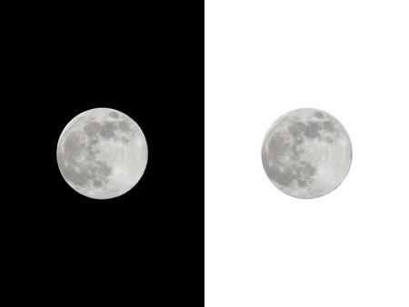 Volle maan die op zwarte en witte achtergrond.