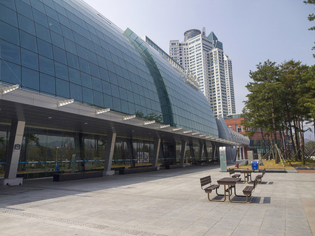 incentives: CHANGWON, SOUTH KOREA-MAR 29: Facade of Changwon Exhibition Convention Center (CECO), a major venue for meetings, incentives, conventions and exhibitions (MICE) on Mar 29, 2012 in Changwon, Korea.