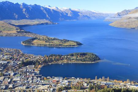 Queenstown view from above, Otago region, South Island, New Zealand. Archivio Fotografico