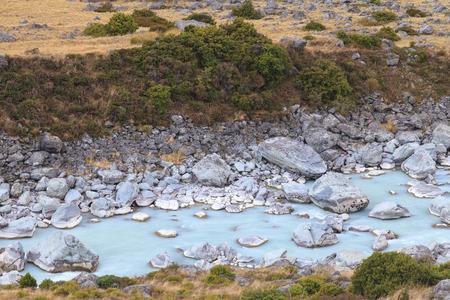 Hooker river in Hooker Valley, Aoraki Mount Cook National Park, Canterbury region, South Island, New Zealand. photo