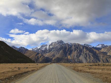 aoraki mount cook national park: Gravel road leading to Tasman Valley in Aoraki Mount Cook National Park, Canterbury region, South Island, New Zealand.