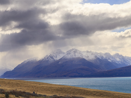 mackenzie: Colorful Mt.Cook valley and Lake Pukaki, Aoraki Mount Cook National Park, South Island, New Zealand.
