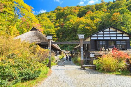 AKITA, JAPAN -OCT 20, 2012: Facade of Tsurunoyu onsen on October 20, 2012 in Akita, Japan. Tsurunoyu Onsen is one of the oldest hot spring resorts of Nyutou Onsenkyo with a history of over 300 years.