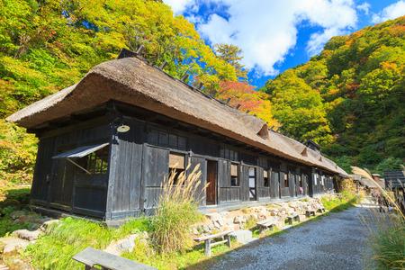 ryokan: AKITA, JAPAN -OCT 20, 2012: Facade of Tsurunoyu onsen on October 20, 2012 in Akita, Japan. Tsurunoyu Onsen is one of the oldest hot spring resorts of Nyutou Onsenkyo with a history of over 300 years.