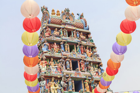 mariamman: Detail of colorful Sri Mariamman temple, the oldest Hindu temple in Singapore. Located on South Bridge Road in the Chinatown District of Singapore.