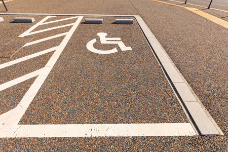 wheel chair: Disabled parking or Wheel chair parking lot, Japan.
