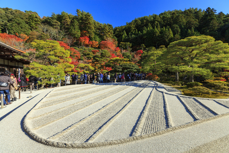 karesansui: KYOTO, JAPAN - NOV 25, 2012: Silver Sand Sea (Ginshadan) in Karesansui (Sand garden) in Ginkakuji (Silver Pavilion) Temple, Kyoto, Japan. Gingaku-ji Temple is an Unesco World Heritage site.