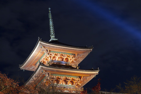 storey: Three Storey Pagoda at night, Kiyomizu-dera temple, Kyoto, Japan. Kiyomizudera is part of the Historic Monuments of Ancient Kyoto, Japan. Editorial