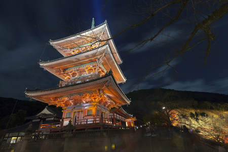 lightup: Three Storey Pagoda at night, Kiyomizu-dera temple, Kyoto, Japan. Kiyomizudera is part of the Historic Monuments of Ancient Kyoto, Japan. Editorial