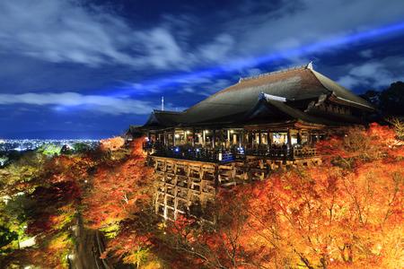 light up: Autumn night light up at Kiyomizu-dera temple and the large veranda (Kiyomizu stage), Kyoto, Japan. Editorial